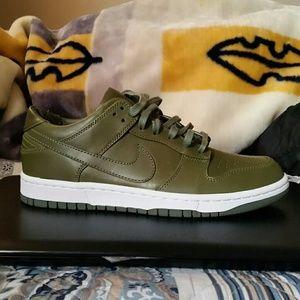 Nike leather dunk lows olive green jordan 1s